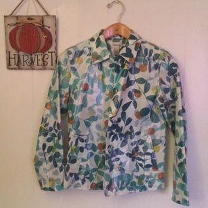 Chicos Leaf-Print Rain Jacket size 0 Excellent!!